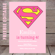 free pink supergirl baby shower invitation editable