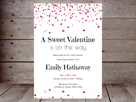 hearts confetti editable valentine baby shower invitation