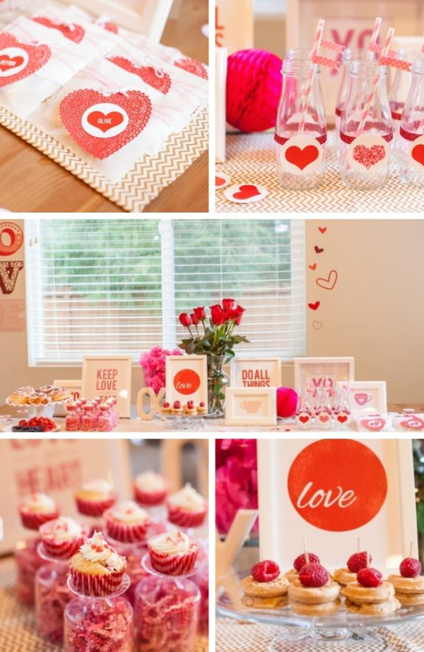 red and pink glittery St Valentine's Day baby shower