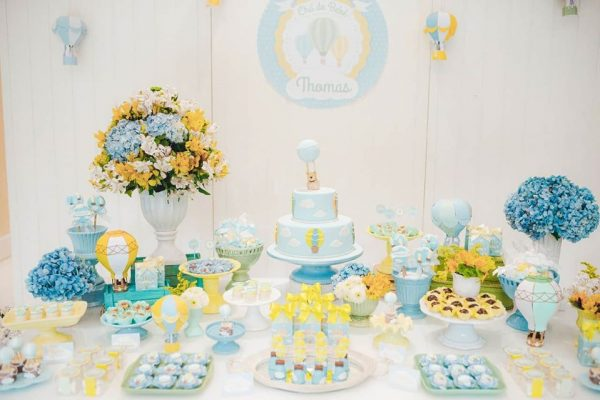 sweet blue and yellow boy baby shower setup