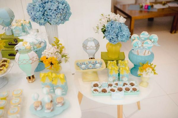 yellow and blue hot air balloon theme