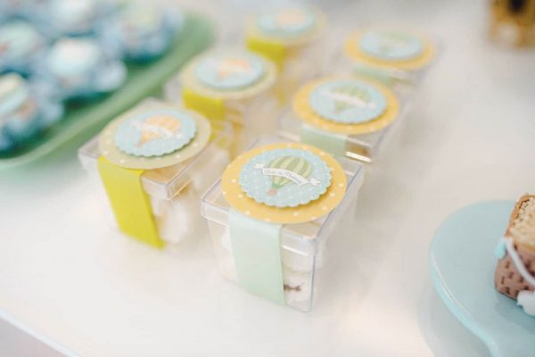 yellow blue and white adorable favor box labels