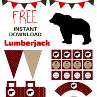free lumberjack winter baby shower party printable pack