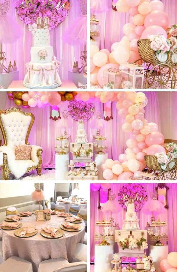 Gold and Pink Blush Ballerina Baby Shower Inspirations