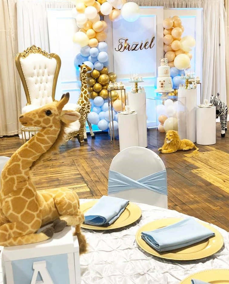 Sweet Pastel Safari Baby shower table setting