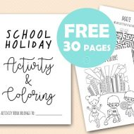 Free school holiday Kids activities and coloring book download