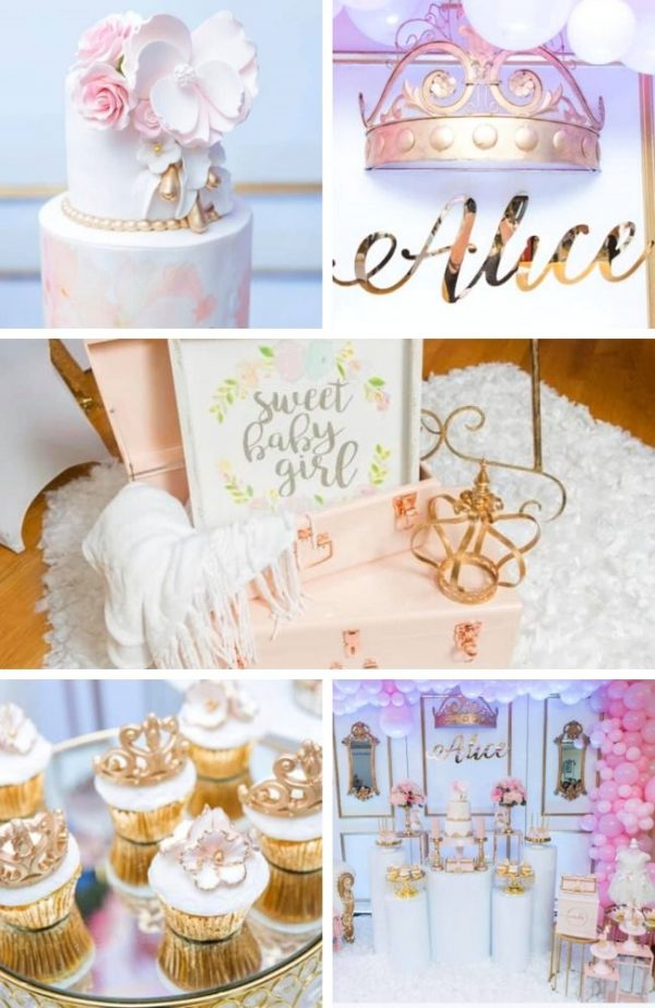 Elegant Pink and Gold Princess Baby Shower Tablescape (1)