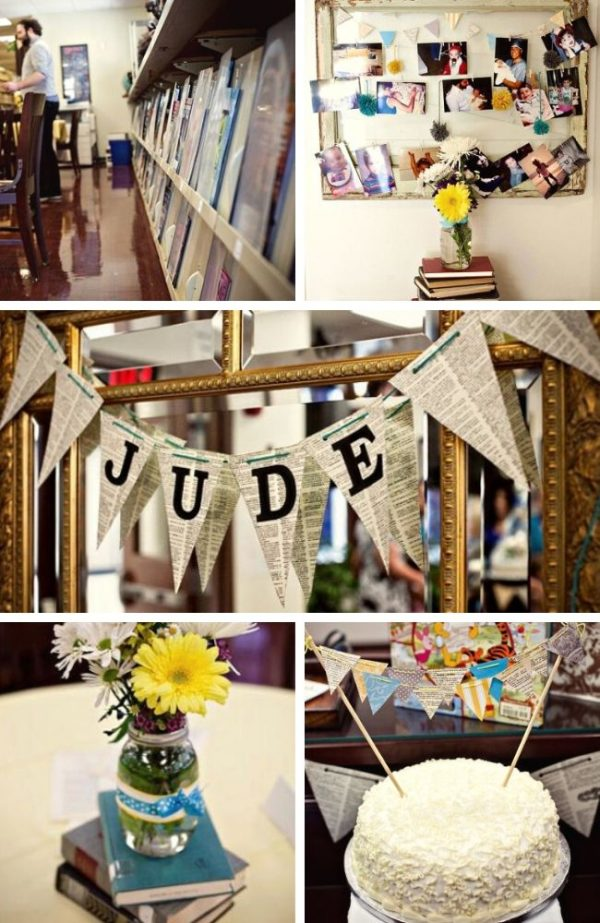 School Library Baby Shower tablescape