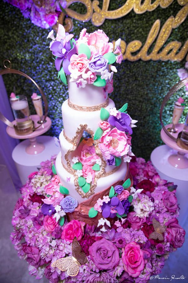 butterfly and garden flower filled cake