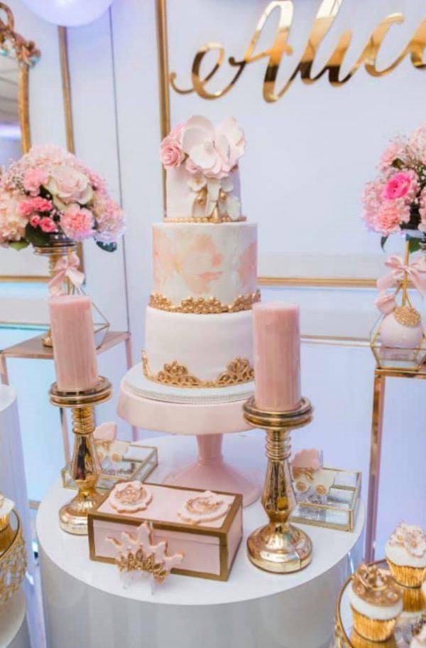 elegant pastel pink and gold princess cake