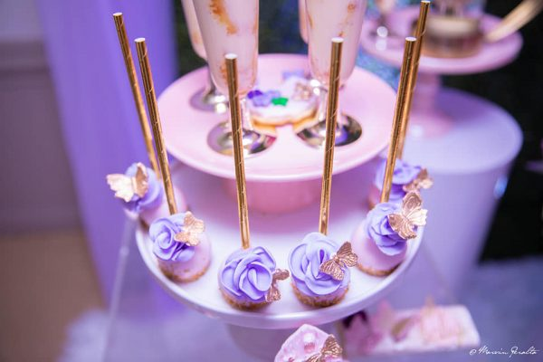 lavender and gold butterfly cupcakes
