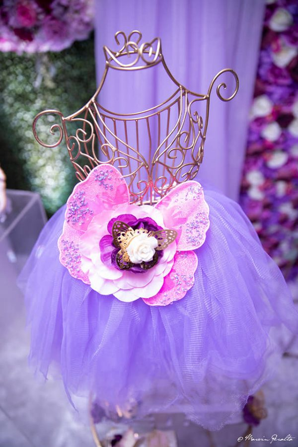 little girls lavender tutu with pink flower