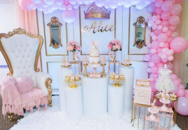 pink and gold princess baby shower dessert
