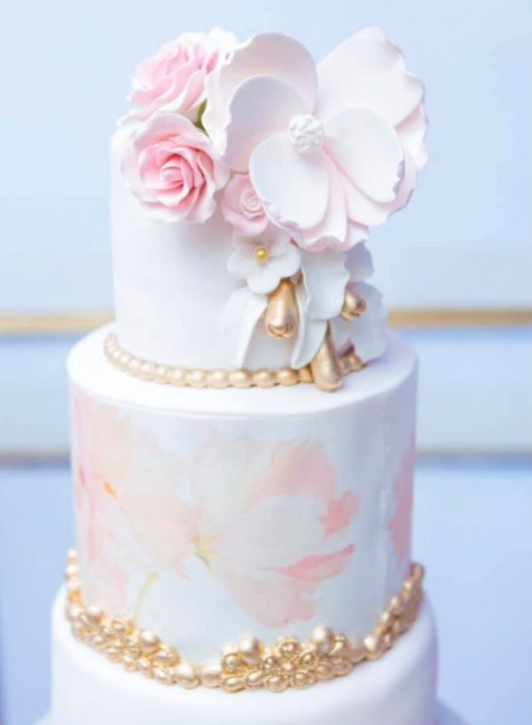 pink and gold princess flower cake