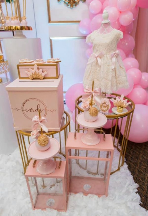 pink satin ribbons and cards boxes