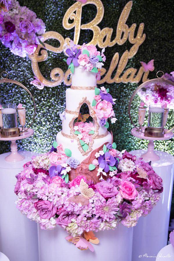 purple magenta garden cake