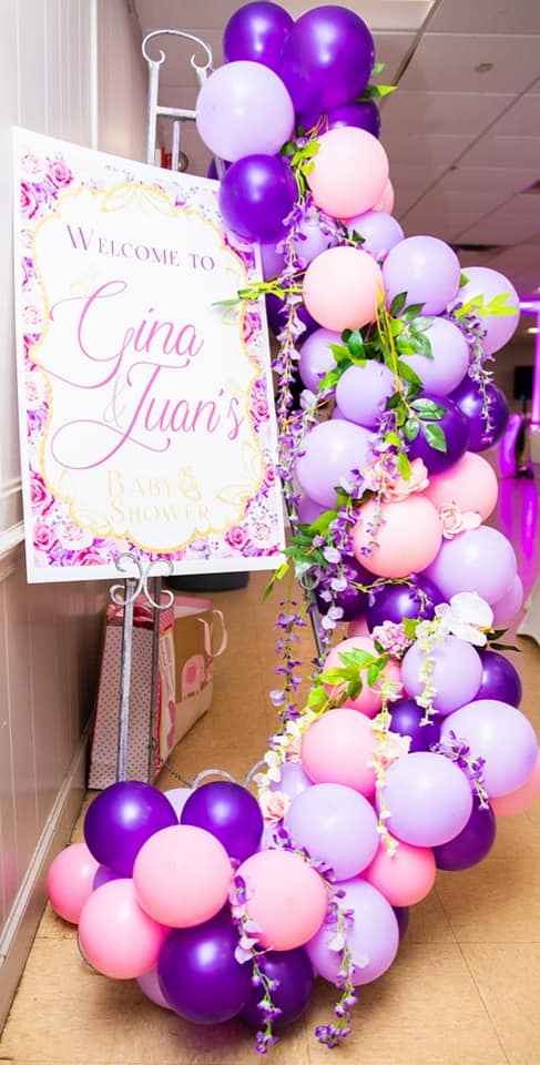 purple pink lavender leaves balloon arch