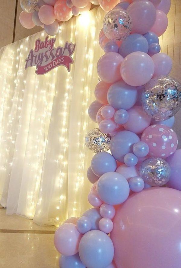 silver glitter purple pink balloo arch