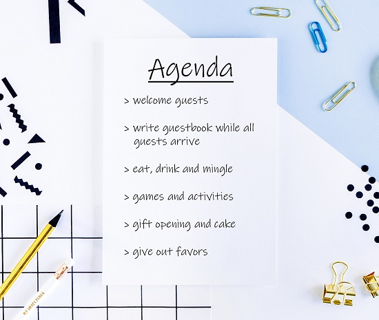 agenda of the day of the baby shower
