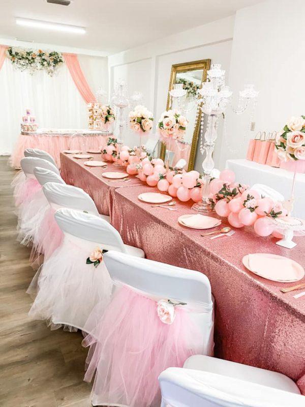 ballerina rose gold birthday tablescape