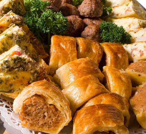 gourmet sausage rolls and meat pies platter