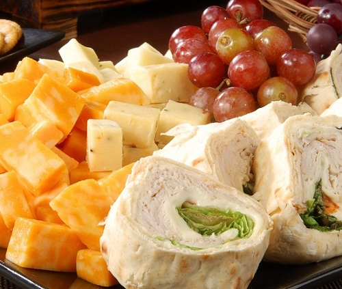 hard cheese platter with wraps