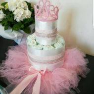 Pink tiara princess baby shower diaper cake in tulle dress