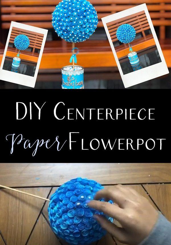 DIY centerpiece paper flowerpot