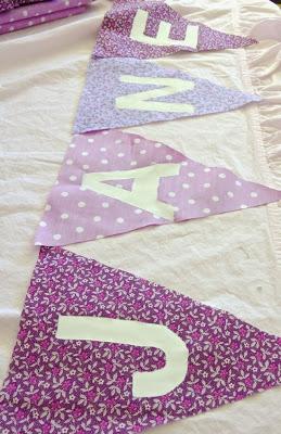DIY purple fabric bunting