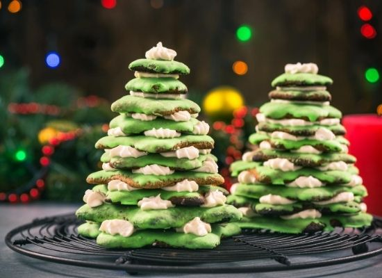 christmas tree cookie and meringue tower
