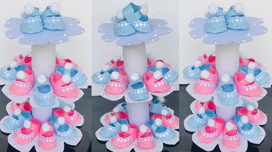 paper-baby-booties-as-table-centerpieces