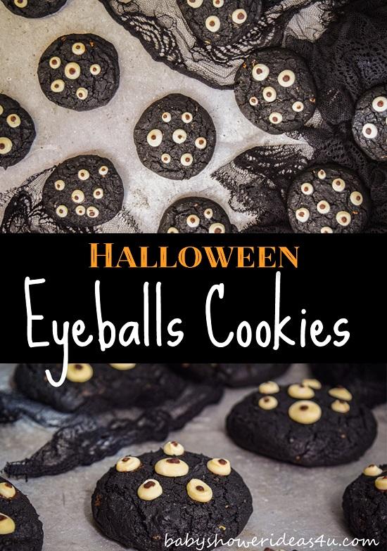 Crunchy Black Halloween Eyeballs Cookies