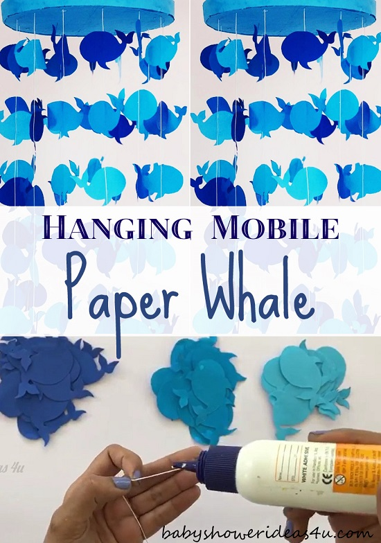 DIY Paper Whale Hanging Mobile Decoration Craft