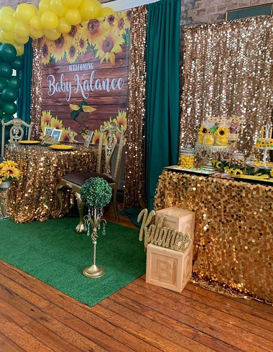 Gold Sunflower Baby Shower Setup