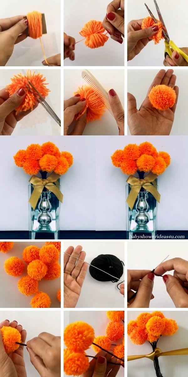 How to Make a Yarn Pom Pom Flowers Tutorial