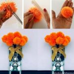 DIY How to Make a Yarn Pom Pom Flowers (Fall Theme)