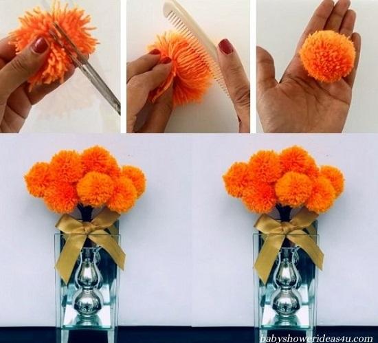 How to Make a Yarn Pom Pom Flowers video