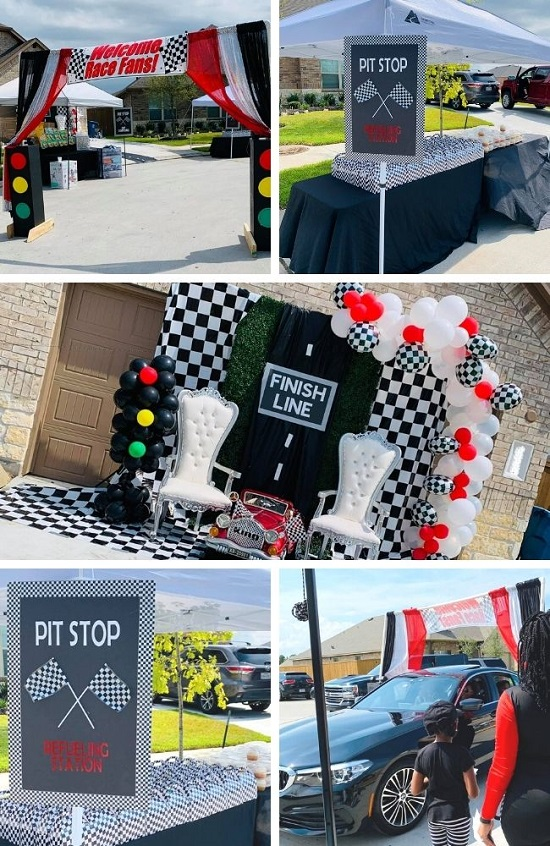 Racing By Drive-Through Baby Shower tablescape