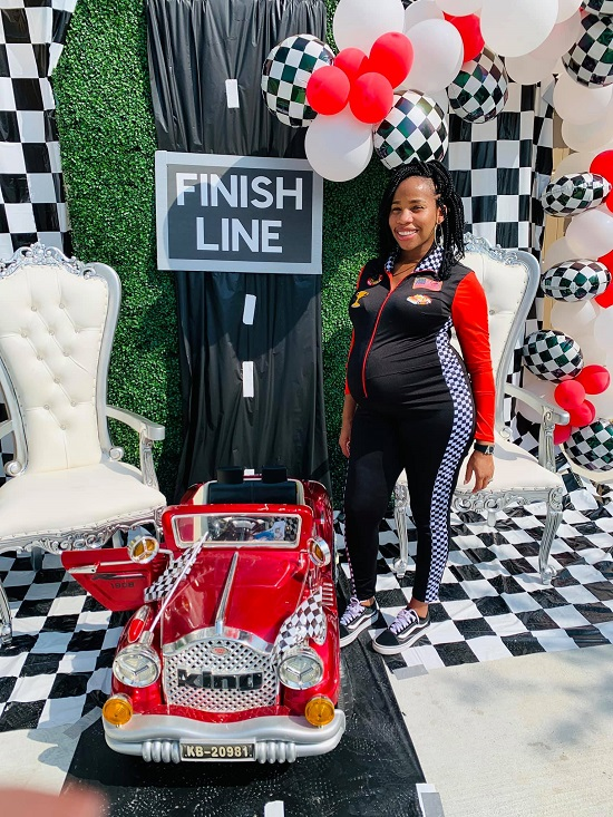 Racing By Drive-Through Baby shower finish line