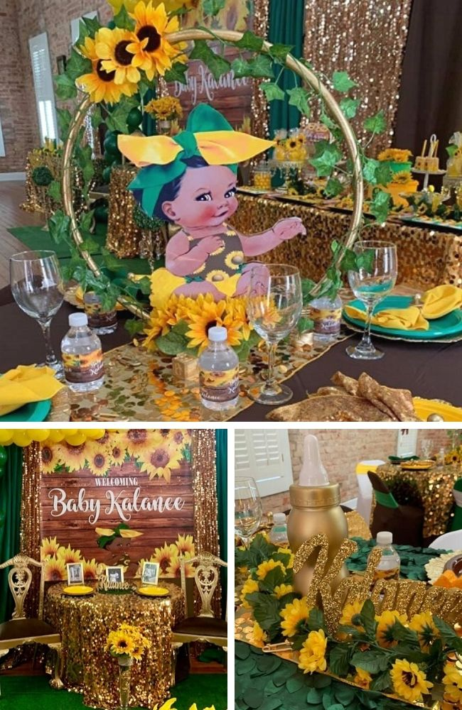 Rustic Sunflower Baby Shower tablescape