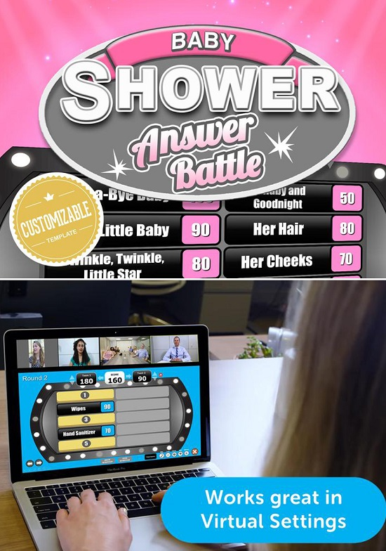 Virtual Baby Shower Game - Answer Battle - Baby Girl Trivia Powerpoint