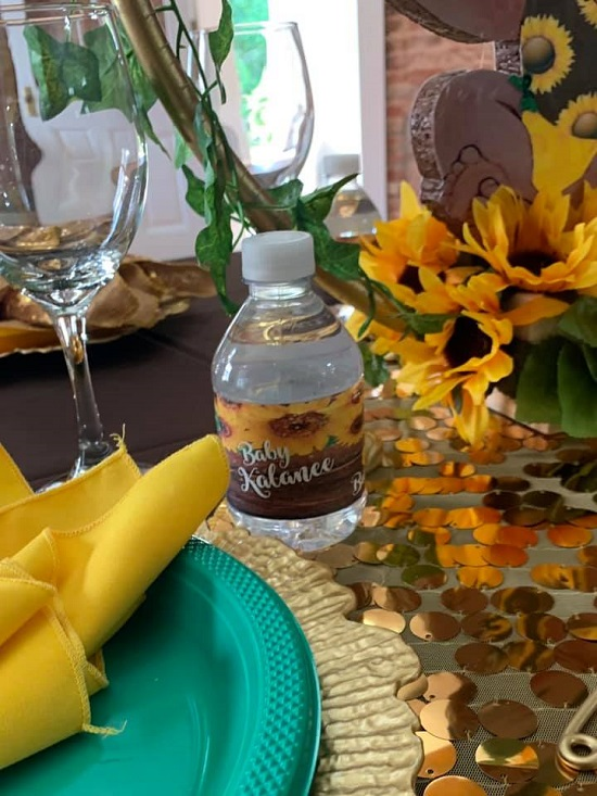 gold sunflower baby shower table setup