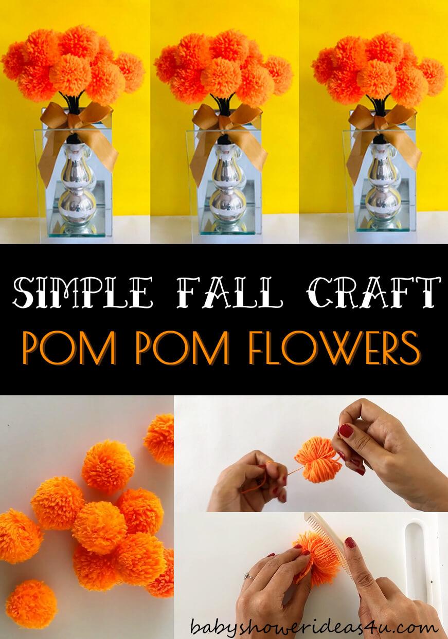 simple pom pom yarn flowers