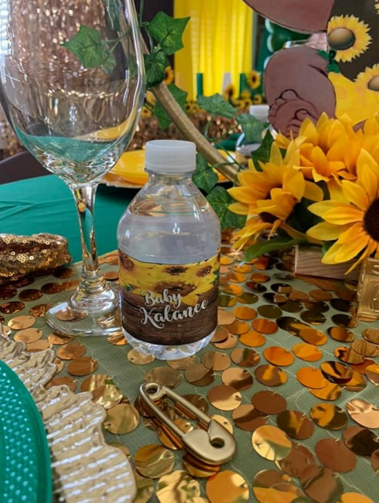 rustic sunflower water bottle wrappers