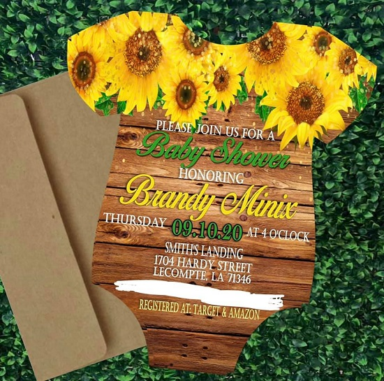 rustic wood sunflower onesie invitation
