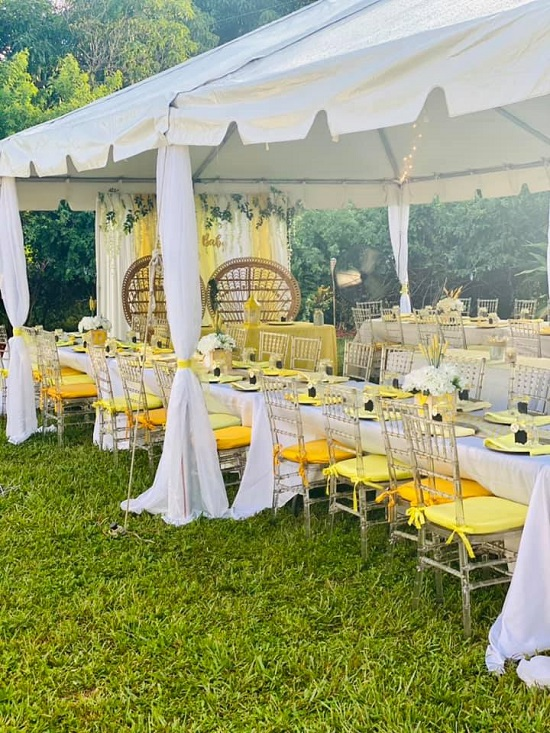 Rustic table runners of burlap and yellow chevron fabric tablescape