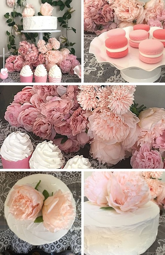 Simple Chic Floral Baby Shower tablescape idea