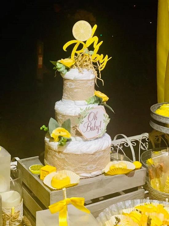 summer lemon diaper cake