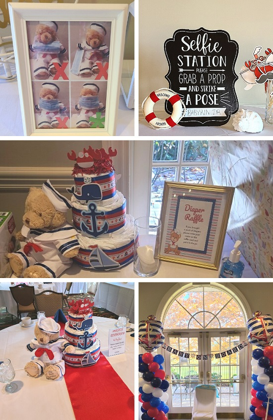Ahoy Teddy Bear Baby Shower tablescape