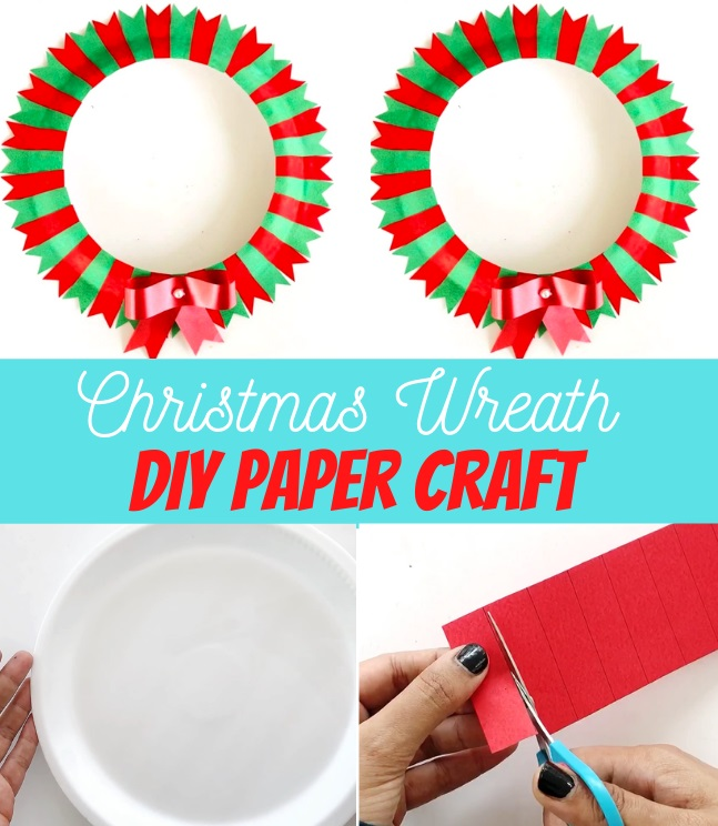DIY Christmas Wreath Paper Craft with Kids tutorial